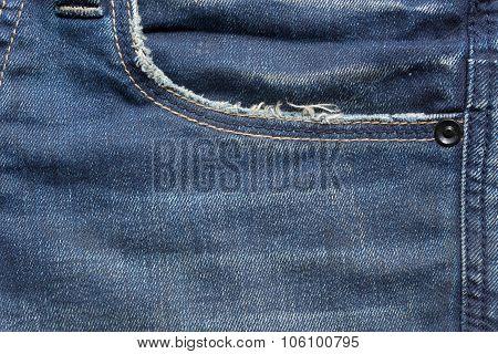 Blue Denim Jeans Pocket With Design Torn