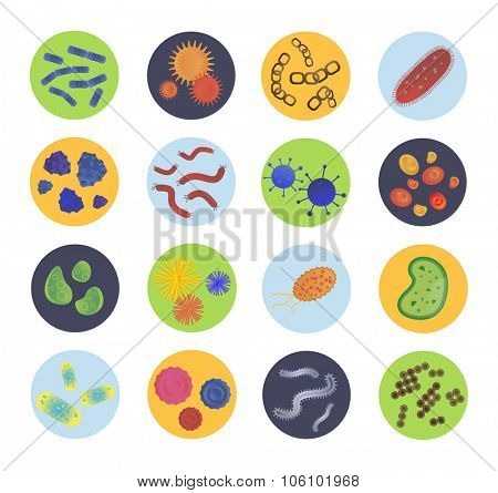 Bacteria virus vector icons set. Biology microorganisms, microbes germs and bacilli. Vector pathogens icons, prokaryotes virus, bugs isolated. Virus science microbe vector icons