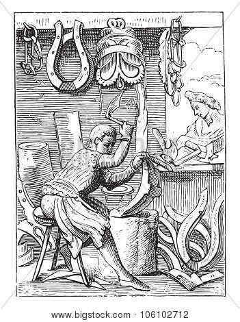 Saddlers, vintage engraved illustration. Magasin Pittoresque 1882.