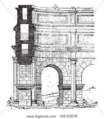 Aqueduct, vintage engraved illustration. Dictionary of words and things - Larive and Fleury - 1895.