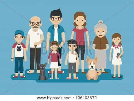 Set Of Big Happy Family Character