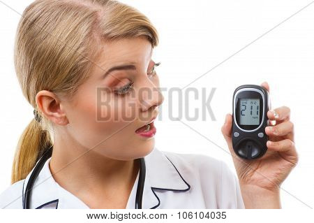Shocked Woman Looking At Glucometer, Measuring And Checking Sugar Level, Concept Of Diabetes