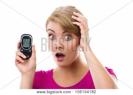 Shocked Woman Holding Glucometer, Measuring And Checking Sugar Level, Concept Of Diabetes