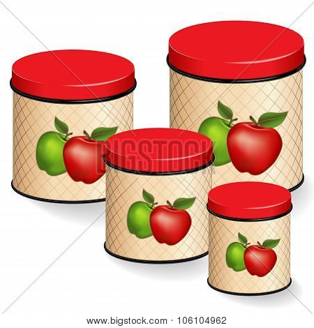 Kitchen Kitchen Canisters With Red And Green Apples