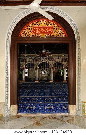 Main door of Kampung Kling Mosque at Malacca, Malaysia