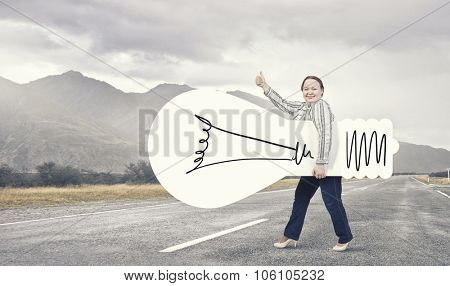Stout woman of middle age with blank white idea banner