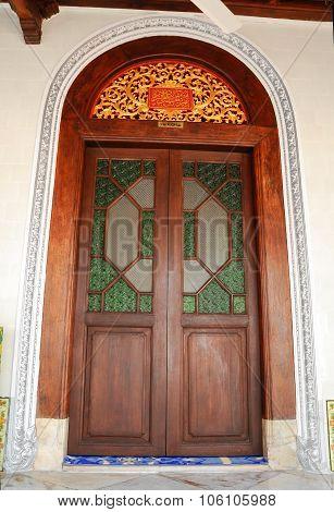 Door of Kampung Kling Mosque at Malacca, Malaysia