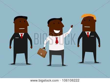 Happy businessman and confident bodyguards