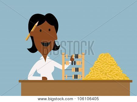 Happy businesswoman count money with abacus
