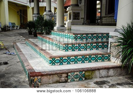 Staircase decorative detail at Kampung Kling Mosque at Malacca, Malaysia