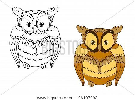 Owl with retro stylized brown feathers