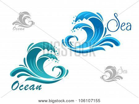 Blue sea waves icon with water splash