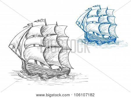 Old sailing ship in stormy waves