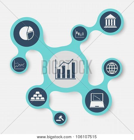 Stock Market Infographic Template With Connected Metaballs