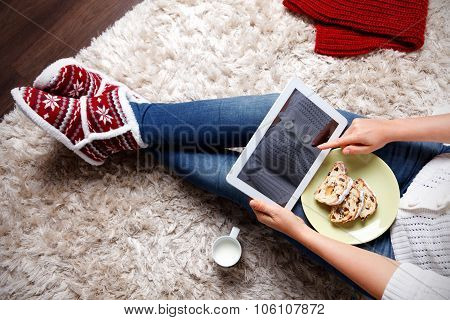 Woman Eating Traditional Christmas Cookies