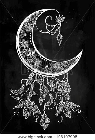 Ornate crescent moon illustration.