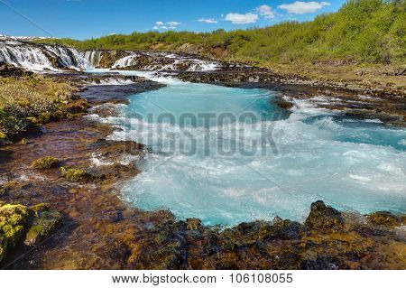 The turquoise water of Bruarfoss