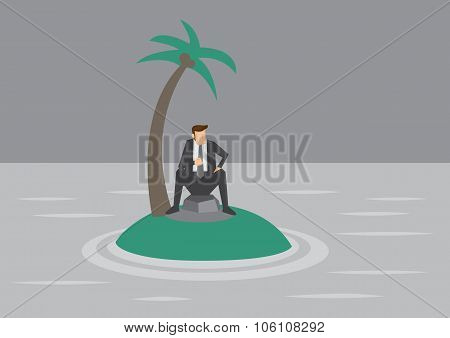 Lonely Businessman Trapped On Tiny Island Vector Illustration
