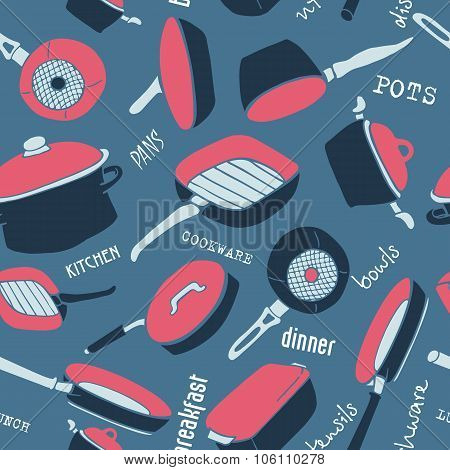 Seamless Pattern Of Kitchen Utensils With Titles