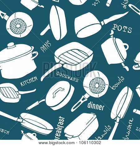 Seamless Pattern Of Kitchen Cookware With Titles