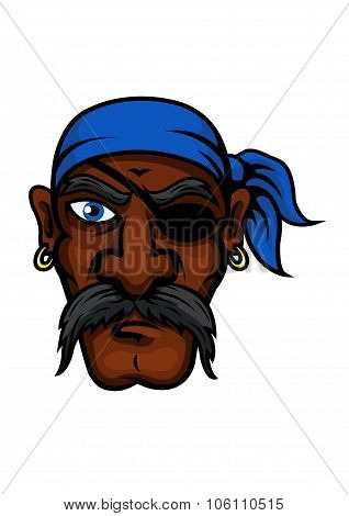 Cartoon pirate in bandanna and eye patch