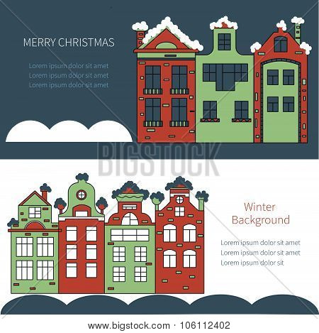 Christmas card with cute little town in winter