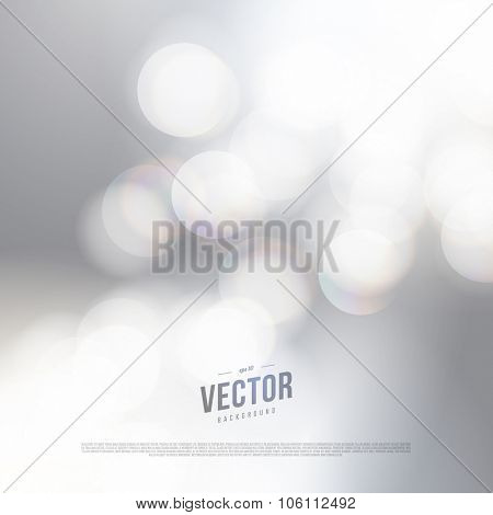 Vector abstract bokeh silver background. Festive defocused lights.