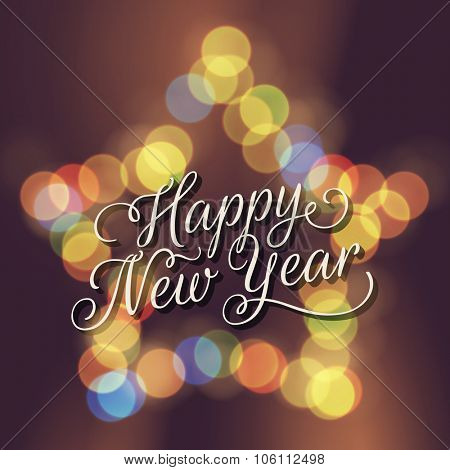 Happy New Year greeting card. Vector lettering on festive star bokeh background.