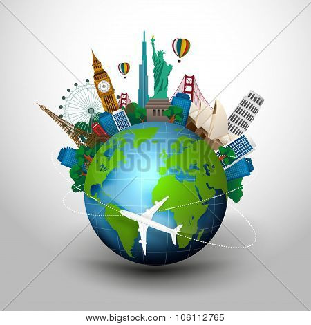 The concept of travel. famous monuments of the world