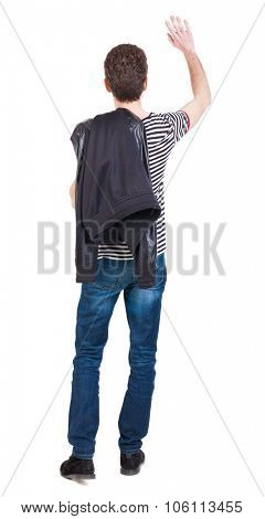 Back view of beautiful man welcomes. man hand waving from. Rear view  people collection.  backside view of person.  Isolated over white background.