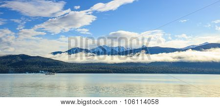 Panorama Wide Angle View Of Lake Te Anau Important Natural Destination Of Fiordland National Park So