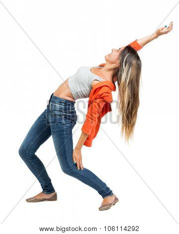 Balancing young woman.  or dodge falling woman. Rear view people collection.  backside view of person.  Isolated over white background. Girl in a red jacket leaned dodging bullets