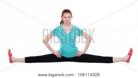 Front view of the girl in sportswear sitting on the longitudinal splits. Rear view people collection.  backside view of person.  Isolated over white background.