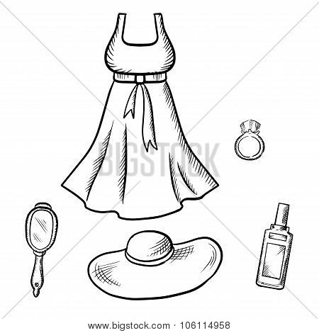 Dress, sun hat, ring, mirror and perfume sketch