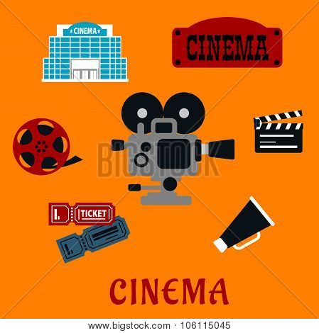 Movie production and cinema flat icons