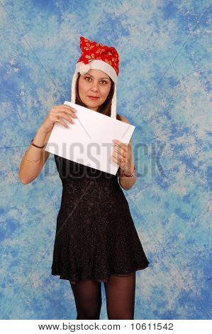 Pretty girl with a blank sheet of paper