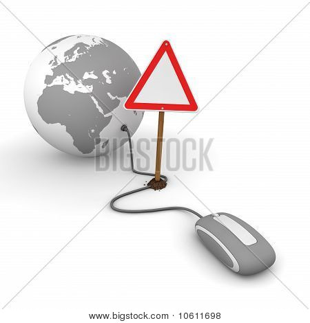Surfing The Web In Grey - Blocked By A Triangular Warning Sign