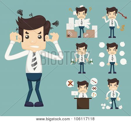 Businessman Stress Pressure Workplace Stick