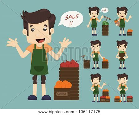 Set Of Youg Merchant , Sale Man At Market Shopping Store