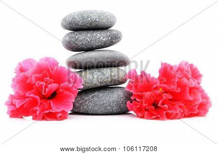 Zen And Spa Stone With Hibiscus Flowers Over White Background