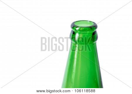 Close-up green bottleneck, isolated on white background