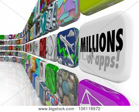 Millions of Apps words on software, program or application tiles in a download store or marketplace