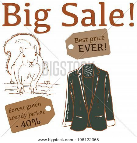 Big Sale illustration with squirrel, jacket and labels