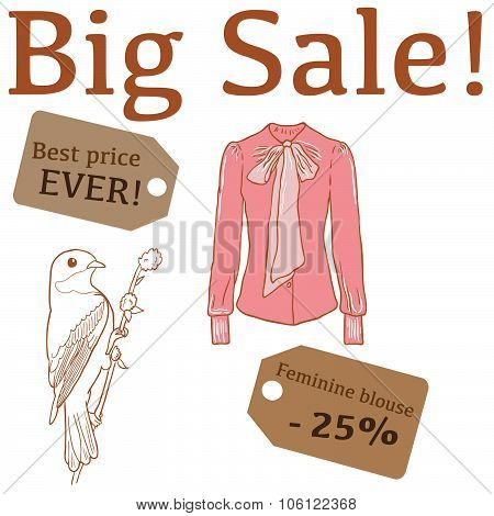 Big Sale illustration with bird, feminine blouse and labels