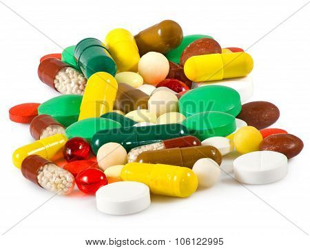 Isolated Image Of Different Pills On White Background Closeup