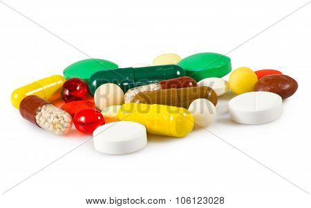 Isolated Image Of Different Pills On White Background Close-up