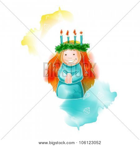 Traditional Christmas watercolor santa lucia greeting card, vector illustration