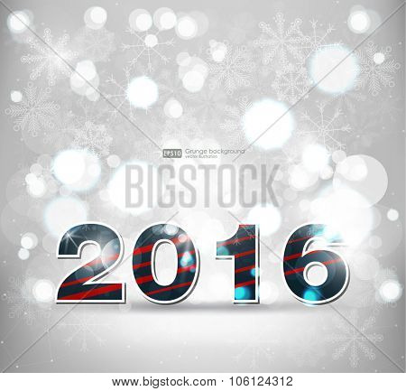 Abstract blurred vector background with sparkle stars. Happy New Year 2016. For decorations festivals, xmas, glamour holiday, illuminated, celebration