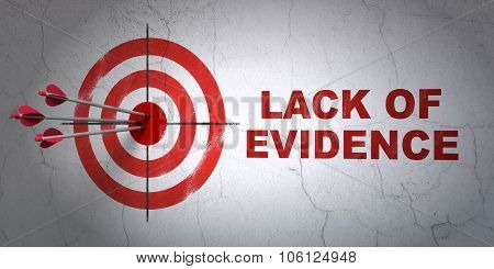 Law concept: target and Lack Of Evidence on wall background