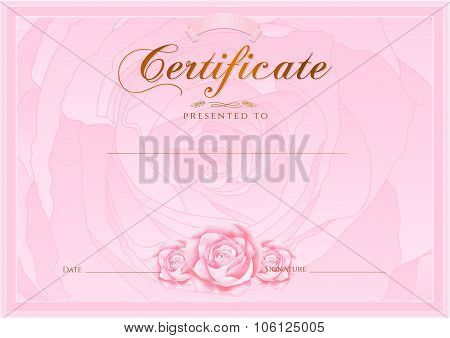 Certificate, Diploma of completion (Rose design template) flower background) with floral pattern